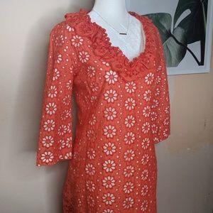 MILLY Orange Floral Lace Eyelet Boho Shift Dress